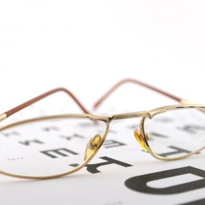 Eyeglasses on the ophthalmologic scale. Shallow DOF.