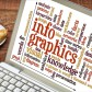 infographics word cloud on laptop