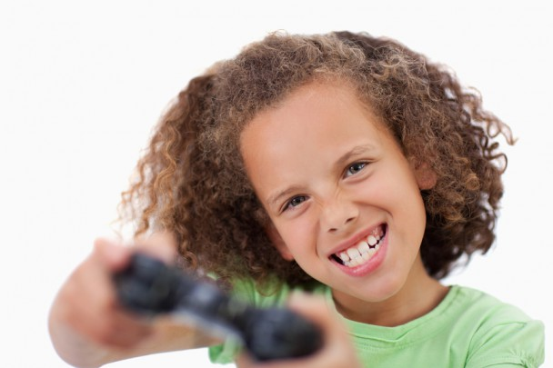 Girl playing a video game