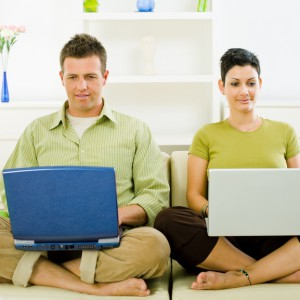 Couple working on laptop