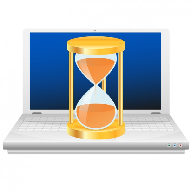 Hourglass on laptop. Time icon.
