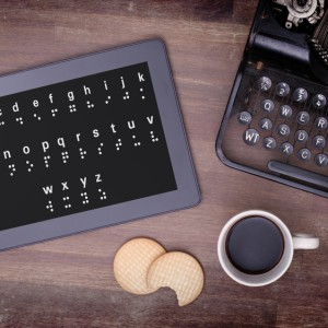 Braille on a tablet, concept of impossibility