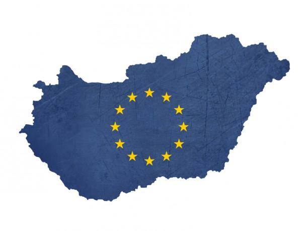 European flag map of Hungary
