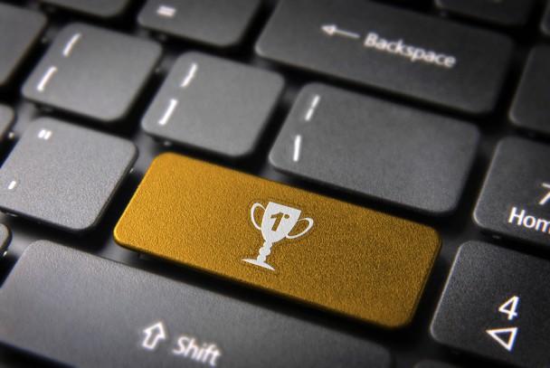Gold Trophy keyboard key, Entertainment background
