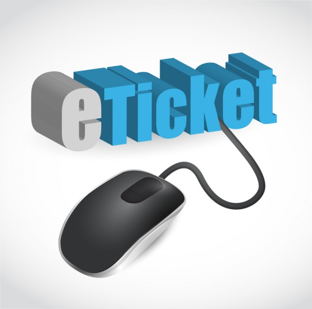 the word e-ticket connected to a computer mouse illustration des