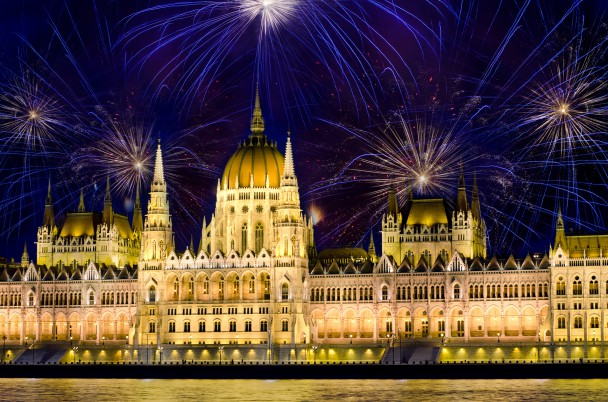 Fireworks and Hungarian parliament, Budapest