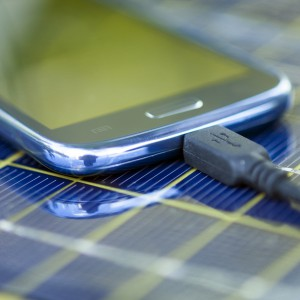 Charging mobile phone with solar charger
