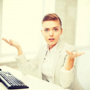 stressed businesswoman with computer