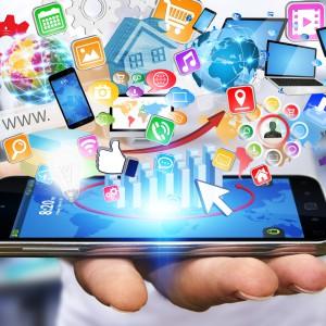 Businessman using modern mobile phone