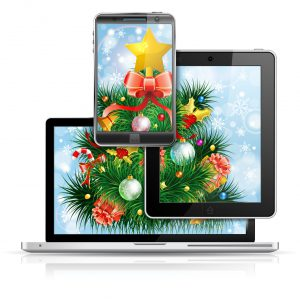 Christmas Tree on Laptop Screen Tablet PC and Smartphone over Bright Background, isolated on white, vector illustration