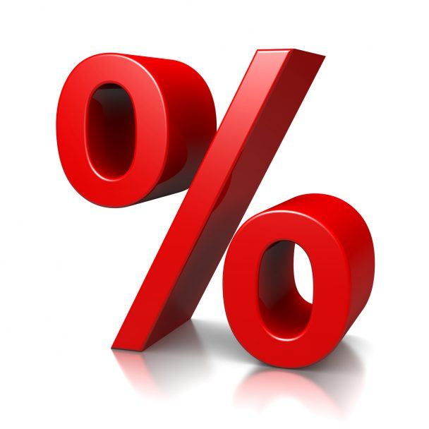 Red Percent Sign on White Background 3D Illustration