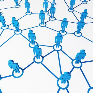 3d image of blue virtual people, connect on white background