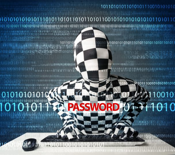 Hacker in morph 3d mask stealing password on futuristic background