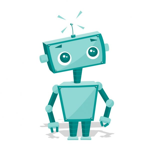 Cute cartoon robot, vector illustration