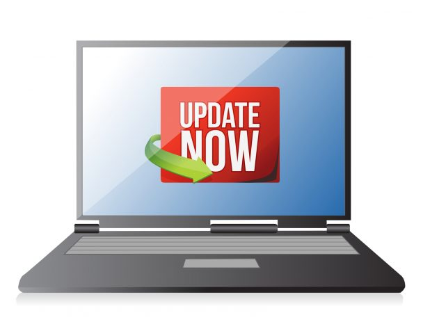 Update now label on a laptop screen illustration design over white